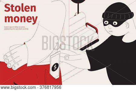 Stolen Money Isometric Scene With Pickpocket Taking Money From Pocket Vector Illustration
