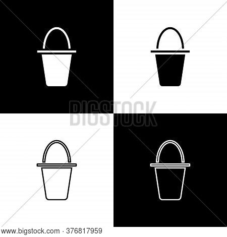 Set Fishing Bucket Icon Isolated On Black And White Background. Fish In A Bucket. Vector