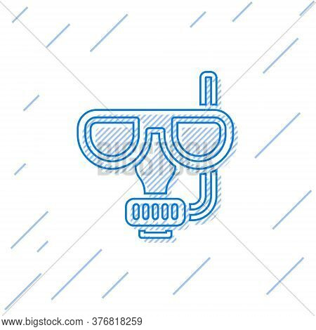 Blue Line Diving Mask And Snorkel Icon Isolated On White Background. Extreme Sport. Diving Underwate
