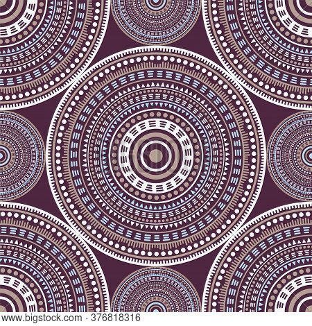 Boho Ethnic Motifs Seamless Pattern. Circle Medallion Mandala Abstract Flowers. Textile Print Templa