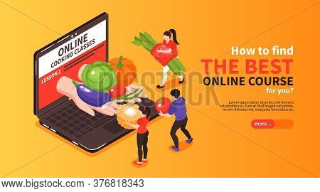 Choosing Cooking School Masterclass Lessons Online Isometric Horizontal Web Banner With Fresh Ingred