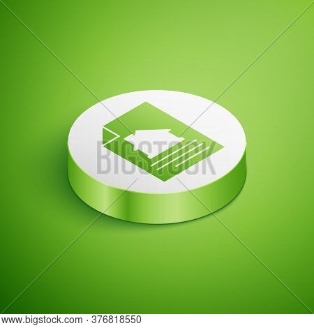 Isometric House Contract Icon Isolated On Green Background. Contract Creation Service, Document Form