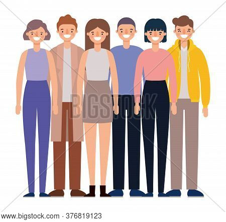 Women And Men Avatars Cartoons Smiling Design, Person People And Human Theme Vector Illustration