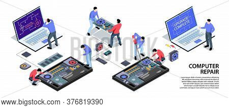 Laptop Computer Tablet Smartphone Repair Support Service Isometric Infographic Horizontal Banner Wit