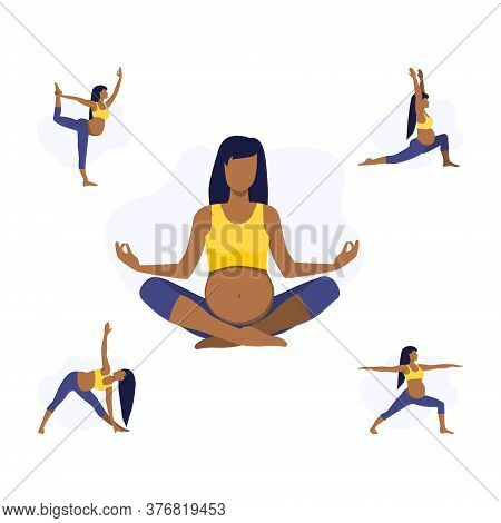 Vector Illustration Set Of Pregnant Black Or Latin Girl Or Woman Doing Yoga Class. Healthy Fitness P