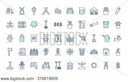 Farm Line And Fill Style Icon Set Design, Agronomy Lifestyle Agriculture Harvest Rural Farming And C