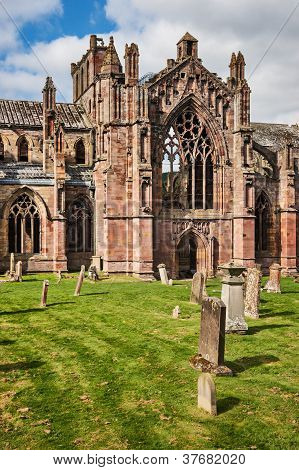 Melrose Abbey ruins, Scottish Borders