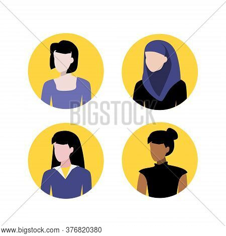 Vector Illustration Set Of Muslim, Black And White Women Portraits. Round Flat Icons. Social Network
