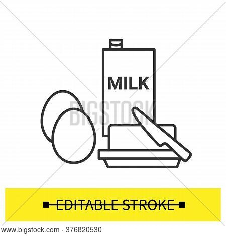 Eggs, Milk And Butter Icon. Dough Ingredients Linear Pictograms. Concept Of Traditional Breakfast Fo