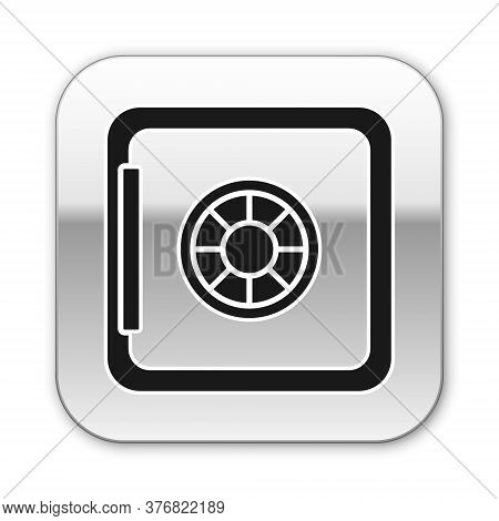 Black Safe Icon Isolated On White Background. The Door Safe A Bank Vault With A Combination Lock. Re