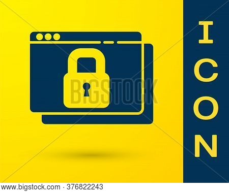 Blue Secure Your Site With Https, Ssl Icon Isolated On Yellow Background. Internet Communication Pro