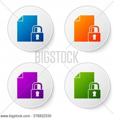 Color Document And Lock Icon Isolated On White Background. File Format And Padlock. Security, Safety
