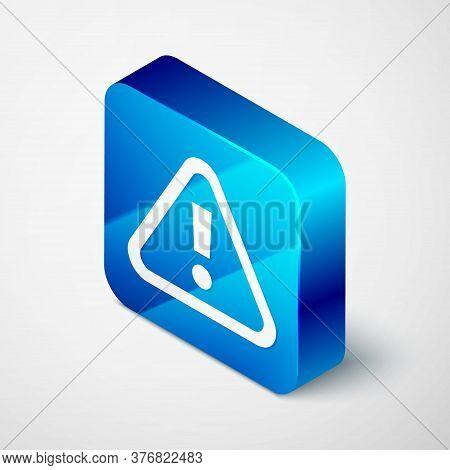 Isometric Exclamation Mark In Triangle Icon Isolated On Grey Background. Hazard Warning Sign, Carefu