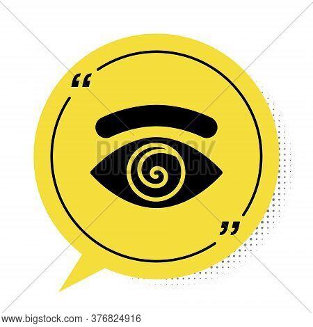 Black Hypnosis Icon Isolated On White Background. Human Eye With Spiral Hypnotic Iris. Yellow Speech