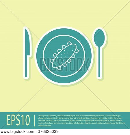 Green Served Cucumber On A Plate Icon Isolated On Yellow Background. Marine Food. Vector.