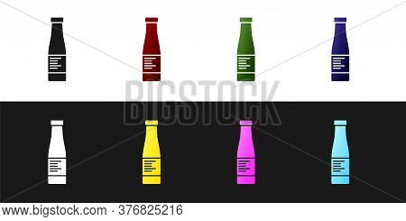 Set Sauce Bottle Icon Isolated On Black And White Background. Ketchup, Mustard And Mayonnaise Bottle