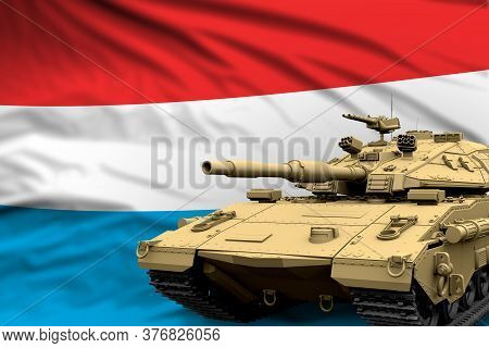 Heavy Tank With Fictional Design On Luxembourg Flag Background - Modern Tank Army Forces Concept, Mi