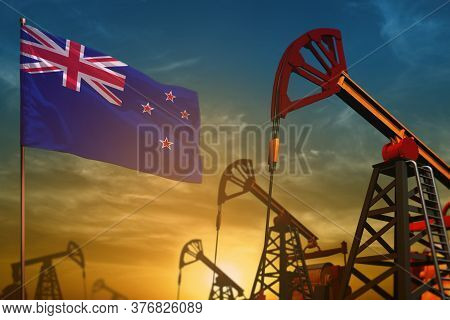 New Zealand Oil Industry Concept, Industrial Illustration. Fluttering New Zealand Flag And Oil Wells