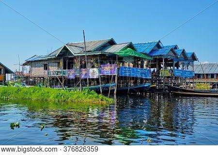 Inle, Myanmar - January 27, 2017 Wooden Floating Houses On Inle Lake In Shan, Myanmar