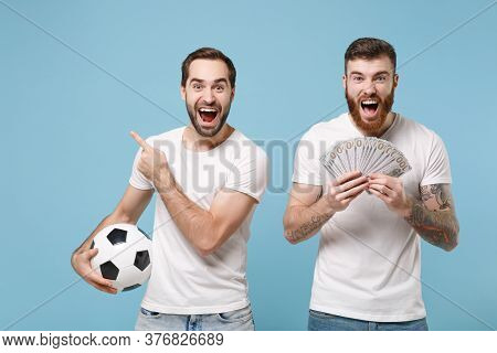 Excited Men Guys Friends In White T-shirt Isolated On Blue Background. Sport Leisure Lifestyle Conce