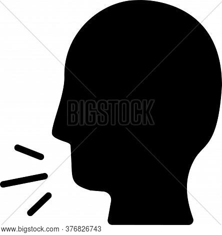 Black Man Coughing Icon Isolated On White Background. Viral Infection, Influenza, Flu, Cold Symptom.