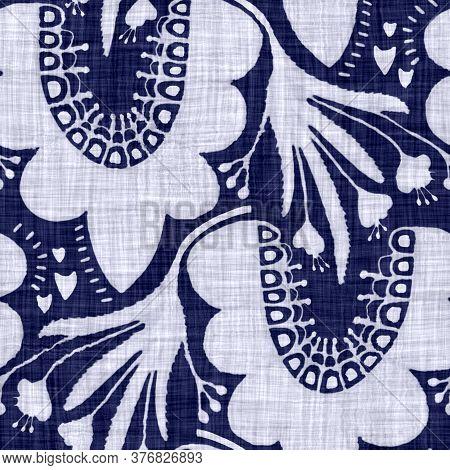 Indigo Blue Flower Block Print Damask Dyed Texture Background. Seamless Woven Japanese Repeat Batik