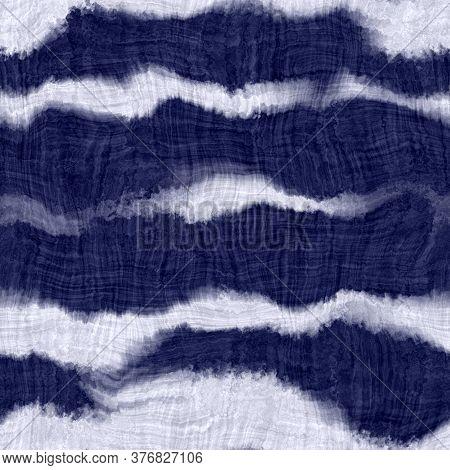 Indigo Blue Woven Wave Stripe. Dyed Cotton Effect Texture Background. Seamless Japanese Repeat Batik