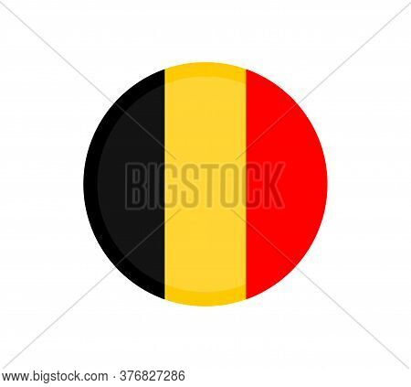 Belgium Flag, Vector Icon, Illustration. Belgian Flag With The Three Colors Of The Coat Of Arms Of B