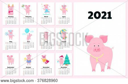 Calendar For 2021 From Sunday To Saturday. Cute Pigs In Different Costumes. Superhero, Princess, San