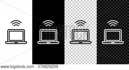Set Line Wireless Laptop Icon Isolated On Black And White Background. Internet Of Things Concept Wit