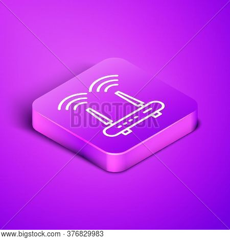 Isometric Line Router And Wi-fi Signal Icon Isolated On Purple Background. Wireless Ethernet Modem R