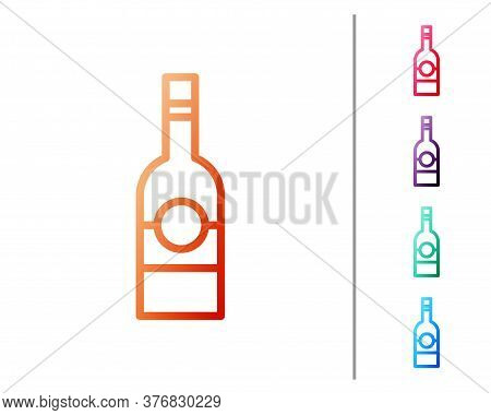 Red Line Glass Bottle Of Vodka Icon Isolated On White Background. Set Color Icons. Vector