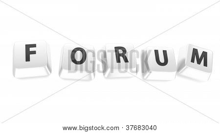 Forum Written In Black On White Computer Keys. 3D Illustration. Isolated Background.