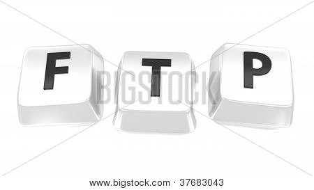 Ftp Written In Black On White Computer Keys. 3D Illustration. Isolated Background.