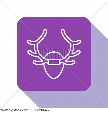 White Line Deer Antlers On Shield Icon Isolated On White Background. Hunting Trophy On Wall. Purple