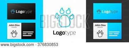 Blue Line Paw Print Icon Isolated On White Background. Dog Or Cat Paw Print. Animal Track. Logo Desi
