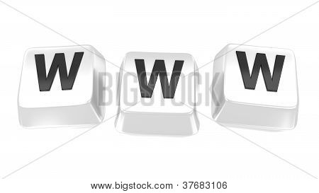 Www Written In Black On White Computer Keys. 3D Illustration. Isolated Background.