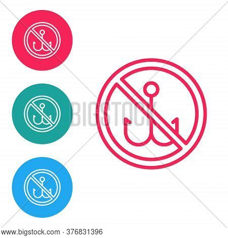 Red Line No Fishing Icon Isolated On White Background. Prohibition Sign. Set Icons In Circle Buttons
