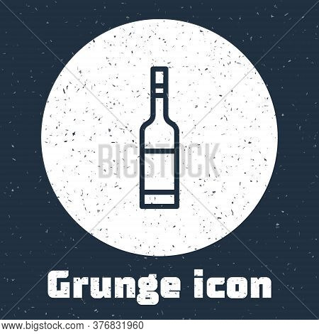 Grunge Line Glass Bottle Of Vodka Icon Isolated On Grey Background. Monochrome Vintage Drawing. Vect