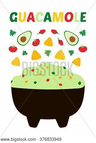 Vector Cartoon Style Guacamole Printable Poster A4 Size. Mexican Guacamole Dip, Spread In Bowl With