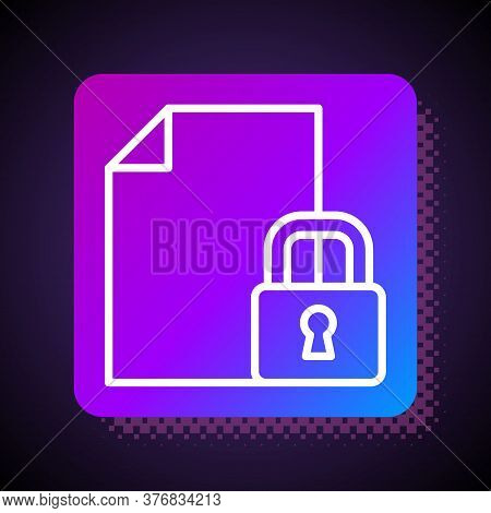 White Line Document And Lock Icon Isolated On Black Background. File Format And Padlock. Security, S
