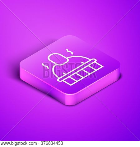 Isometric Line Sauna And Spa Procedures Icon Isolated On Purple Background. Relaxation Body Care And