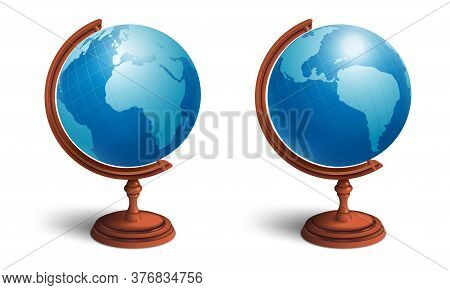 School Globe Set. View From Two Sides. Planet Earth With Continents. 3d Realistic Illustration. Isol