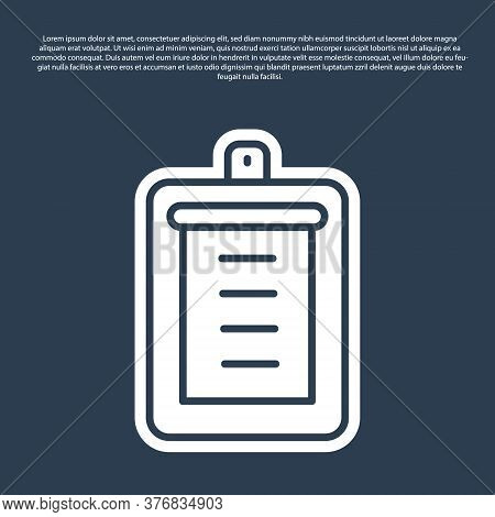 Blue Line Clipboard With Checklist Icon Isolated On Blue Background. Control List Symbol. Survey Pol