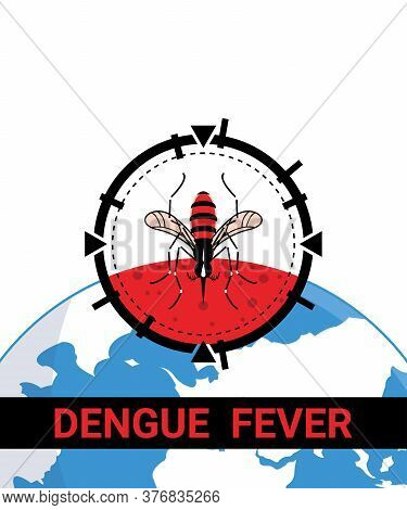 Target On Mosquito. Stop Dengue Fever Infection Concept. Design By Targeting The Mosquito Drinking B