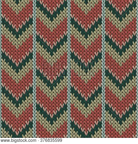 Cashmere Downward Arrow Lines Christmas Knit Geometric Vector Seamless. Carpet Stockinet Ornament. C