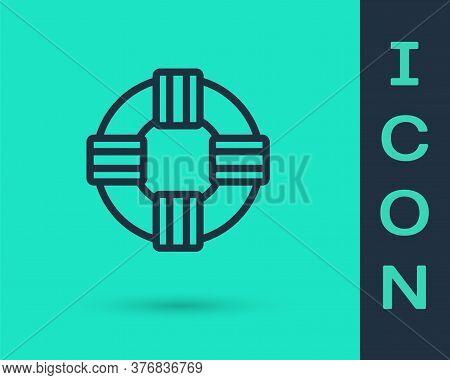 Black Line Lifebuoy Icon Isolated On Green Background. Lifebelt Symbol. Vector.