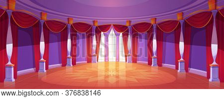 Ballroom Interior In Medieval Royal Castle. Vector Cartoon Illustration Of Empty Round Banquet Hall