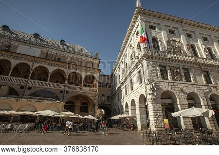 Padova, Italy 17 July 2020: Piazza Dei Signori In Padua In Italy, One The Most Famous Place In The C