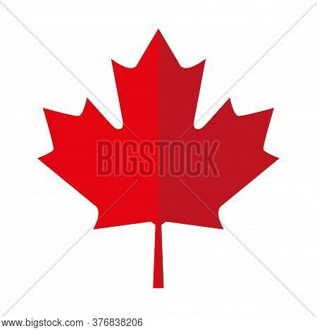 Red Maple Leaf Icon, Canadian Symbol - Vector